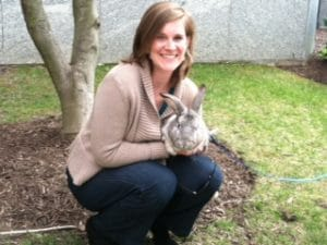 Emily Sumner with the H-1B Bunny - April 1, 2013