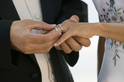 Conditional Residence - Groom Putting Ring on Bride's Finger